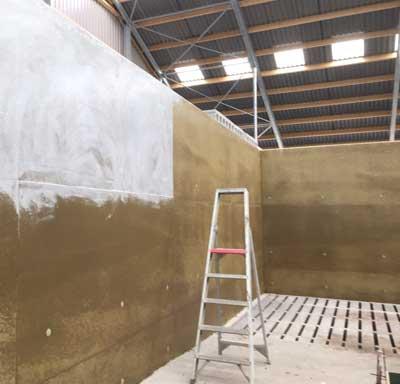 Applying acrylic wall coating