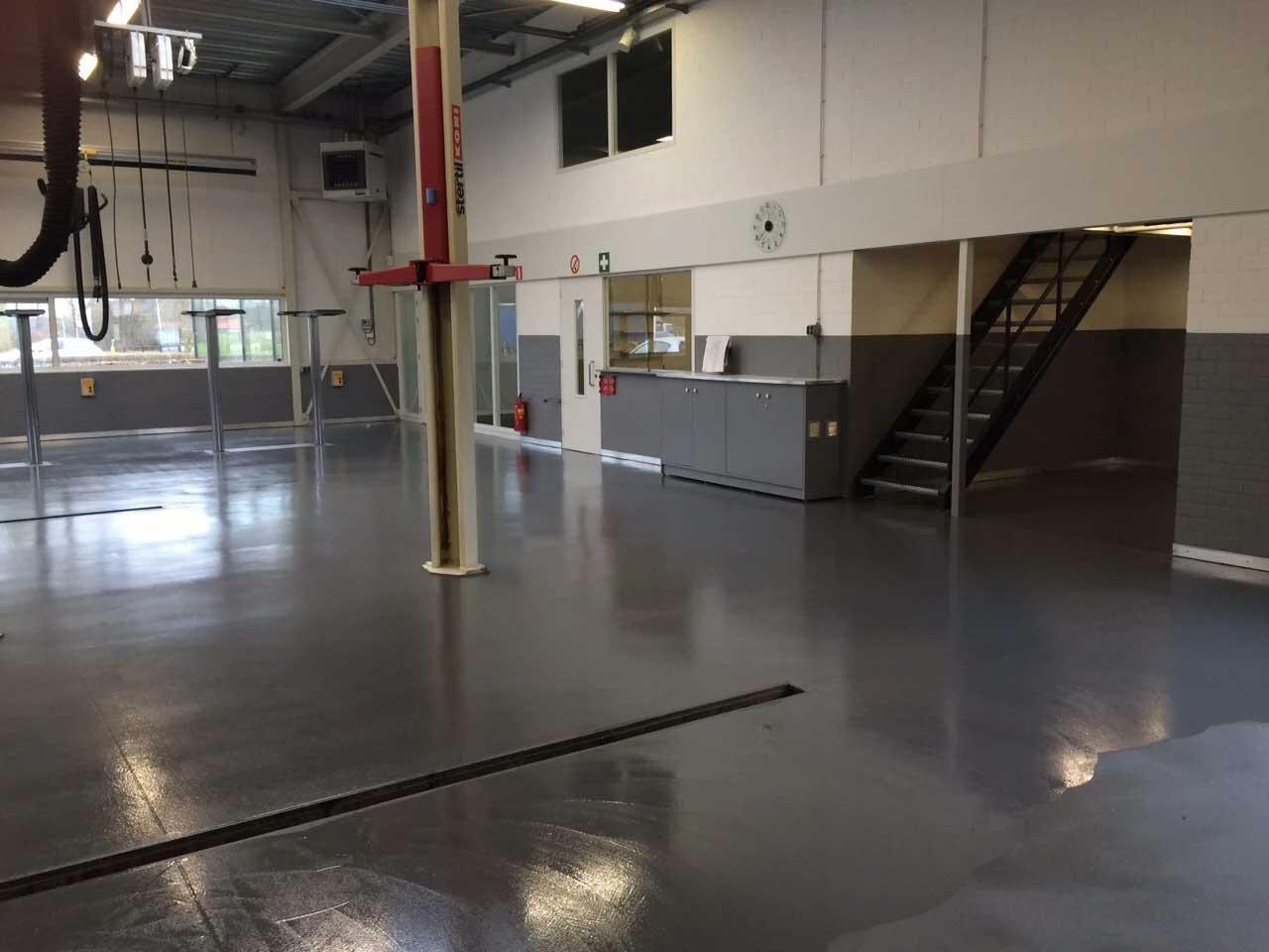 Coated floor garage