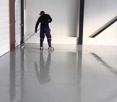 A synthetic floor is installed