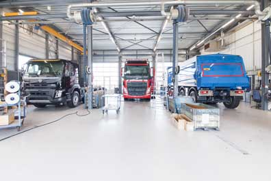 Vrachtwagen garage vloer slijtvast