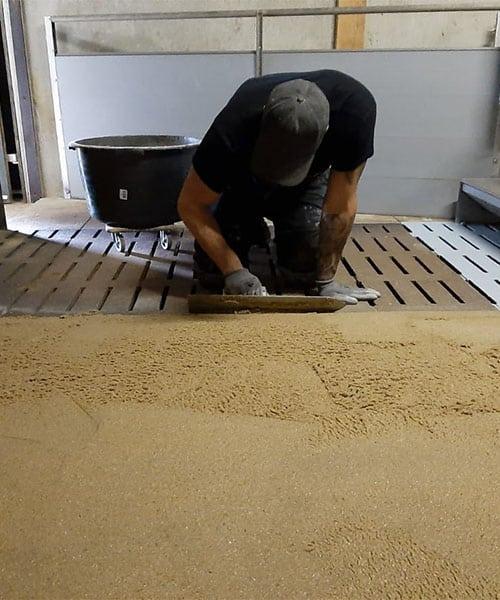 Troffelvloer voor de wasstraten